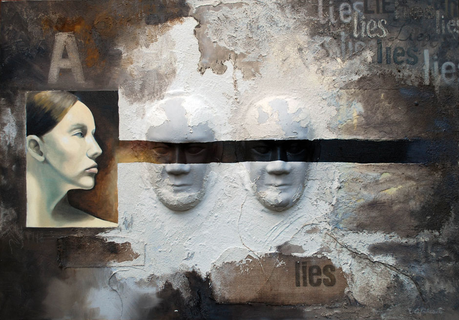"""Lies"" mix media on canvas, 2010, cm. 100×80"