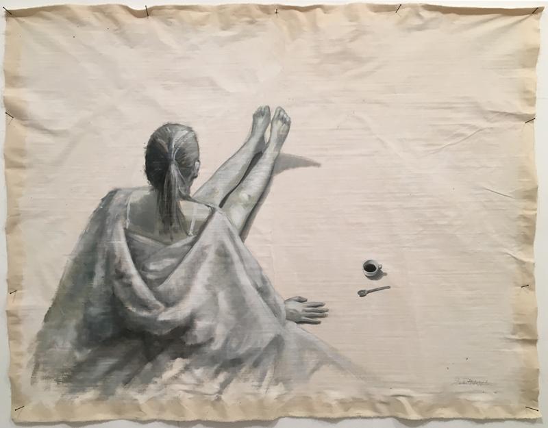 """""""In-finito"""" 2015, olio su tela grezza cm.200x160"""