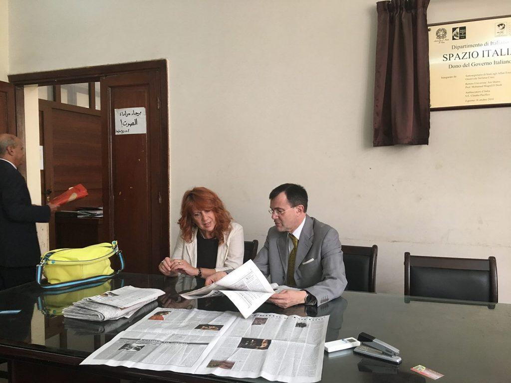 Con Paolo Sabbatini come Ambasciatrice settimana Lingua italiana al Cairo, 2017