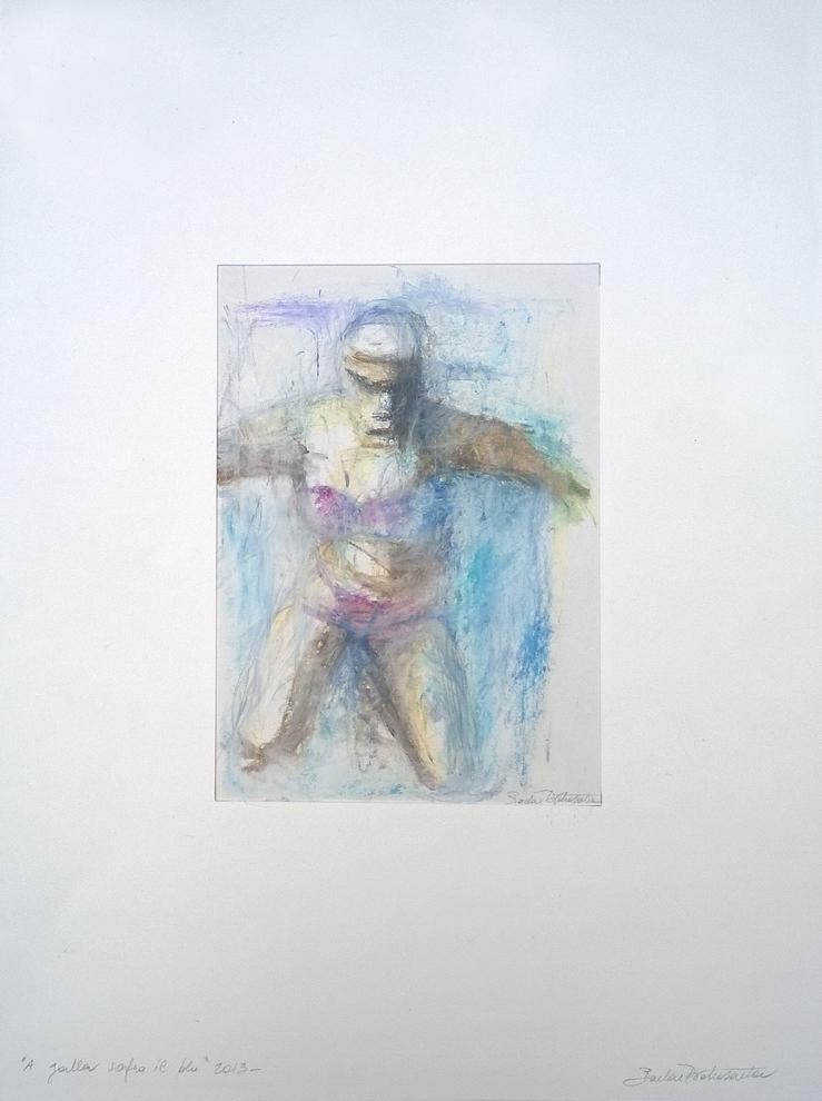 """""""A galla sopra il blu"""" pastelli a olio su carta"""
