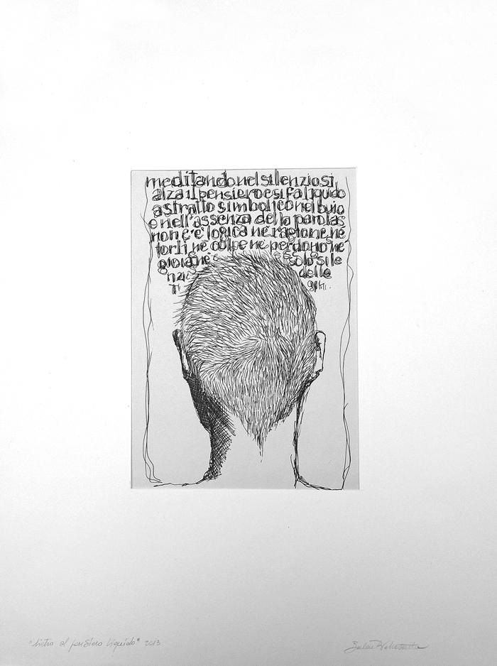 """""""Dietro al pensiero liquido"""", trattopen su carta, 2013"""
