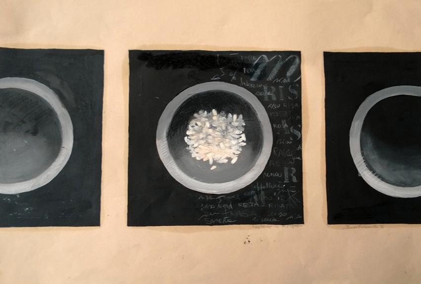 """Feeding the planet"" - Olio e matita su carta, 2013"