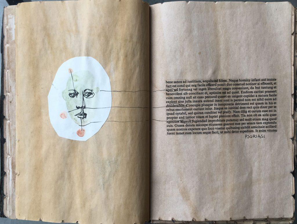 """""""Patologia del manager"""" 2017, trattoclip, letraset, acquarello su carta egiziana"""