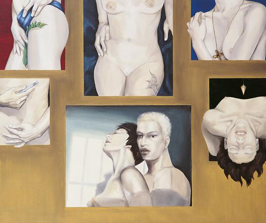 """""""Quando il materialismo impera risorge la magia"""" 1995 olio su tela, cm.100x120"""
