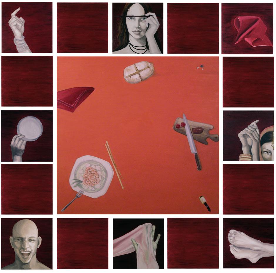 """""""Masala"""" 2007, olio su tela cm. 100×100 + 16 tele 40×40"""