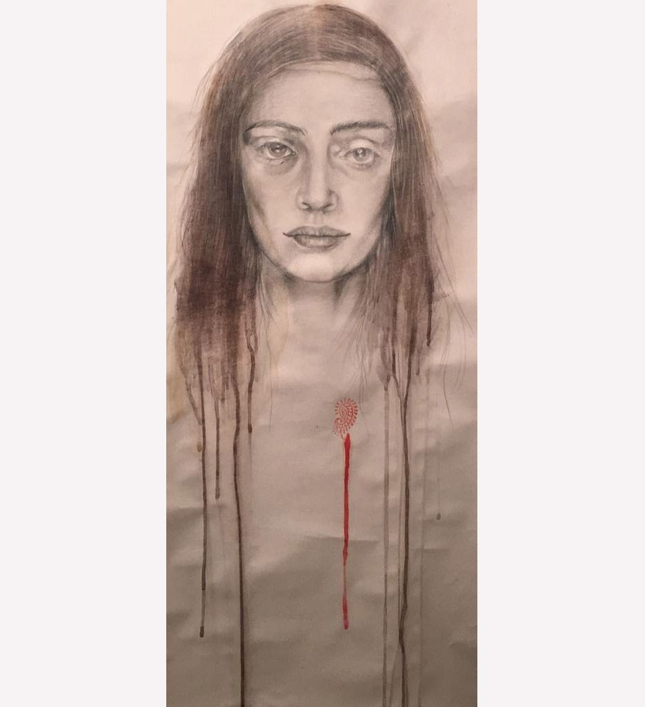 """Nineteen bloody nineteen"" graphite and pigments on paper, 2019"