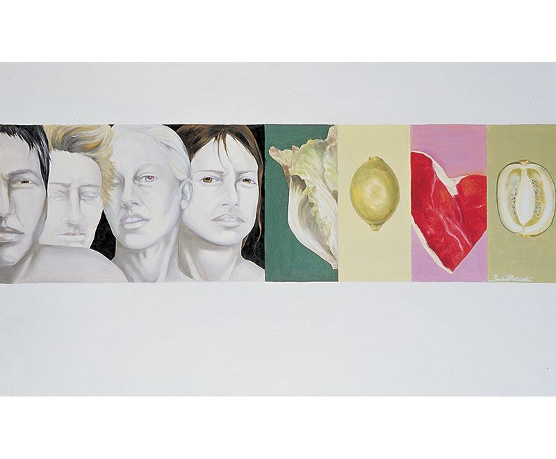 """Aggressività"" 2002 olio su tela, cm.60x100"