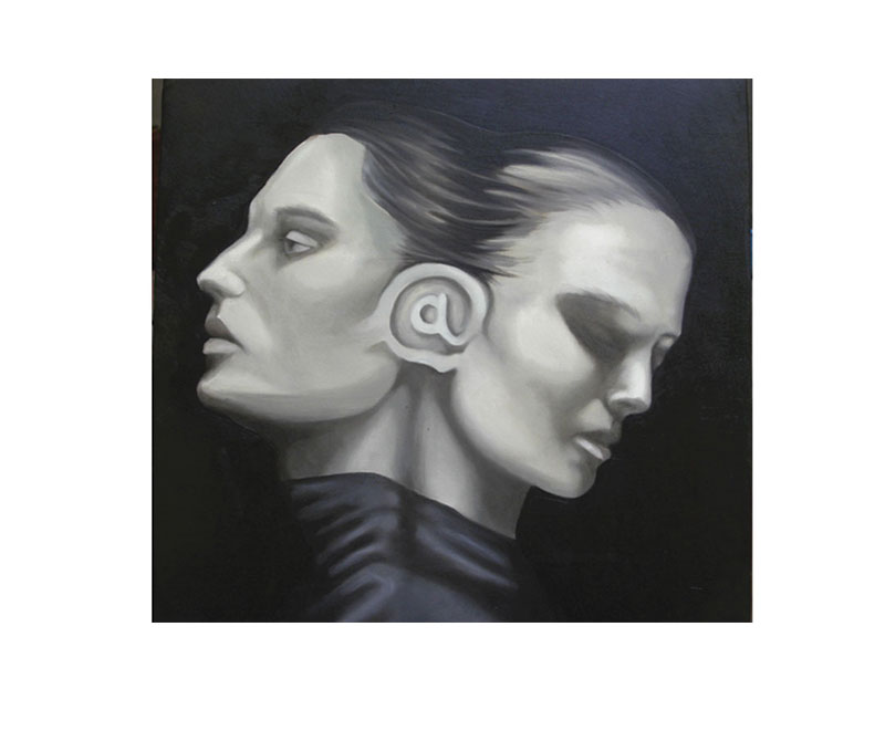 """Connections"" 2006, oil on canvas cm. 40×40"