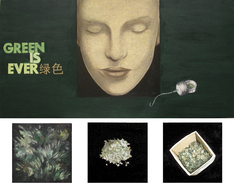 """Green is ever"" 2009, olio su tela cm.100x50 + 6 tele 20x20"