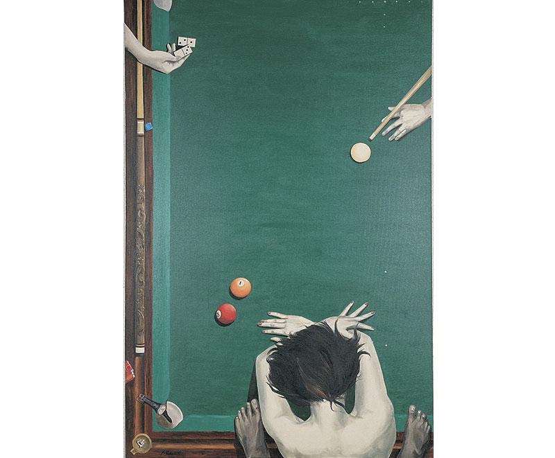 """""""Il gioco della vita""""1992 olio su tela, cm. 120×150"""