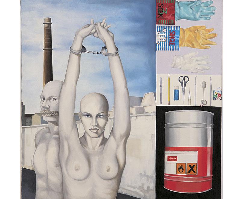 """""""Il lavoro rende liberi"""" 1998 olio su tela, cm.100x100"""