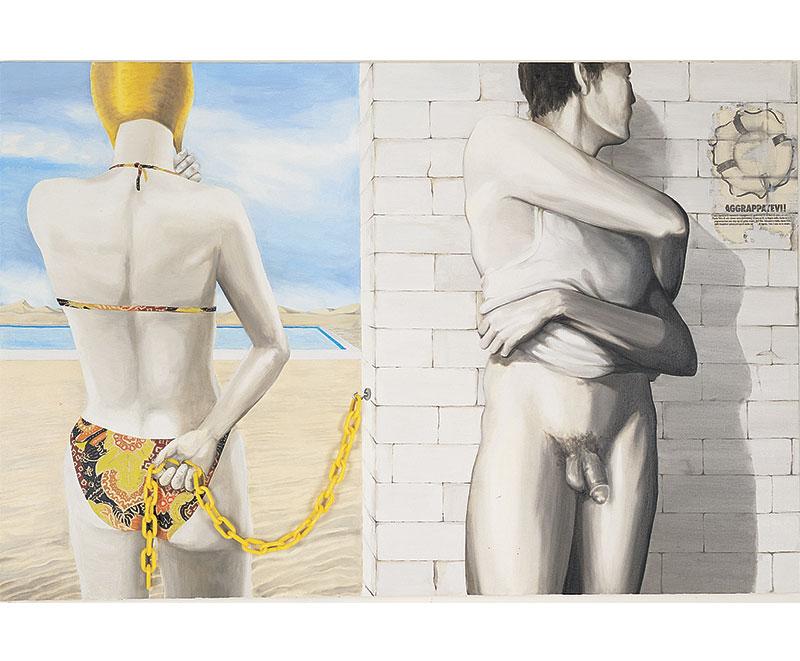 """""""La nuova Era"""" 1991 olio su tela e collage, cm.100x150"""