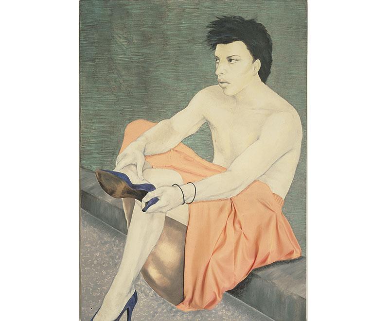 """Leslie"" 1990 olio su tela e tessuto, cm. 70×100"