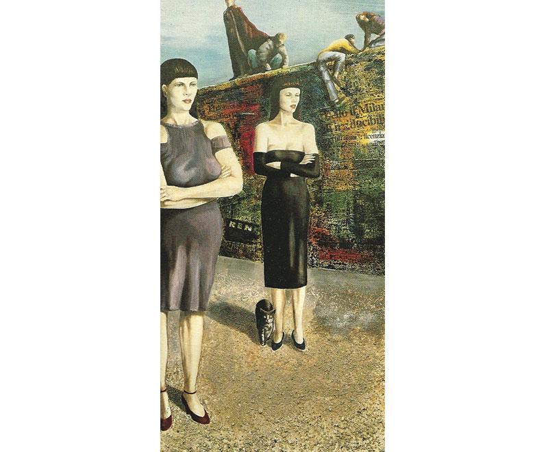 """""""Oltre il muro"""" 1990 olio su tela, collage e pigmenti naturali, cm. 50x100"""