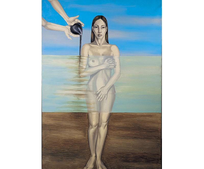 """""""Petrolio"""" 1997 olio su tela, cm. 120x170"""