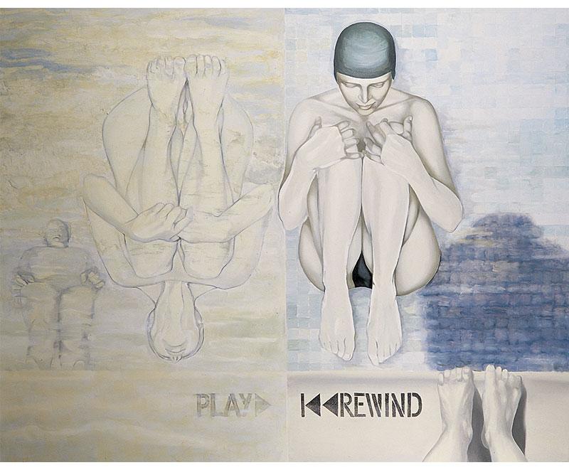 """""""Rewind"""" 2002 olio su tela, cm.130x100"""