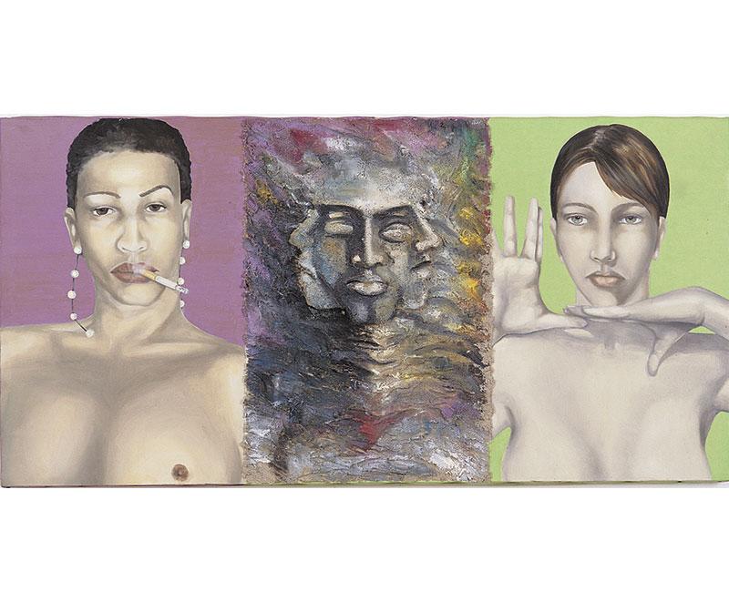 """""""Rivelazioni"""" 1995 olio su tela e acrilici, cm. 100x50"""