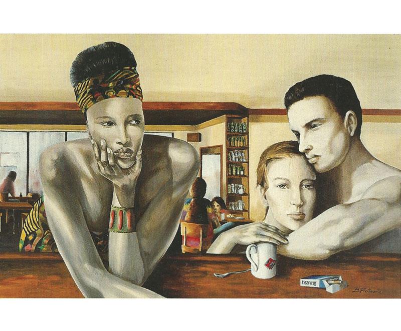 """Settima strada"" 1991, olio su tela cm. 120x80"