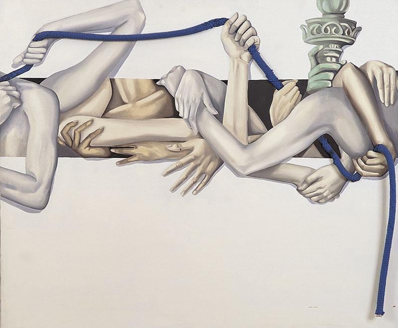 """""""Libertà"""" 1996 olio su tela e collage, cm.100x120"""